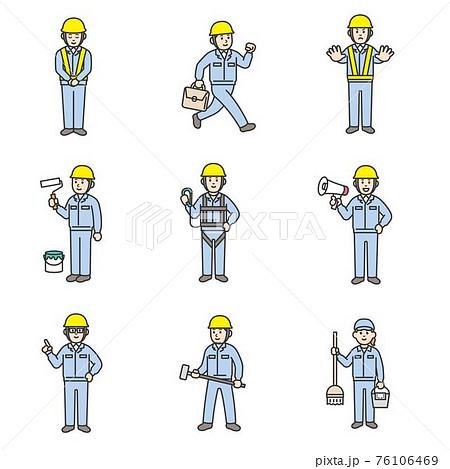 工事現場で作業をしている人たち 76106469