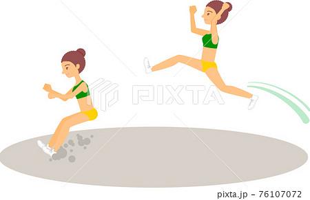 走り幅跳びをする女性アスリート(黒人・アフリカ系) 76107072