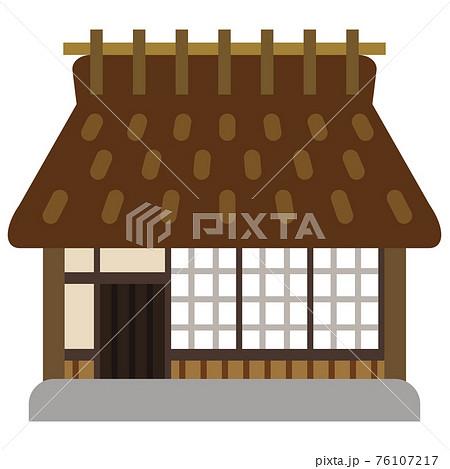 シンプルな茅葺屋根の家 76107217