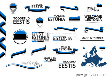 Big vector set of Estonian ribbons, symbols, icons and flags isolated on a white background. Made in Estonia and Toodetud Eestis (in English and Estonian) premium quality. Set for your infographics 76110942