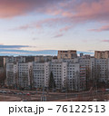 Minsk roofs of houses at sunset 76122513