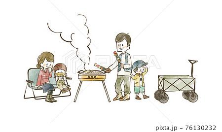 バーベキューを楽しむ4人家族 76130232