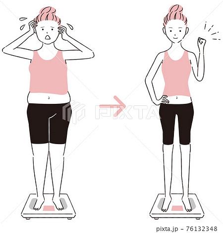 手描き1color  ダイエット 体重計に乗った女性ビフォアーアフター 正面 76132348