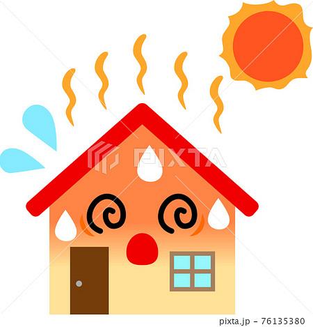 太陽熱で暑くなっている家のキャラクター 76135380