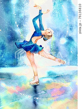 フィギュアスケートのイラスト彩度アップ版 76136810