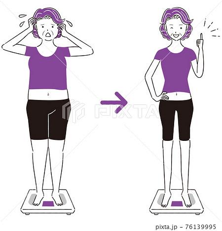 手描き1color  ダイエット 体重計に乗ったシニアの女性ビフォアーアフター 正面 タイトル変更 76139995