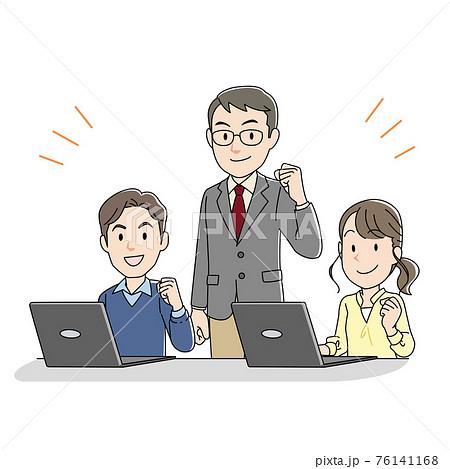 優しいタッチのパソコン教室の先生と生徒イラスト(キリリ) 76141168