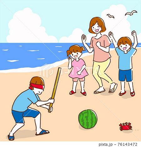 海辺で楽しくスイカ割りをしている若い家族の線画イラスト 76143472