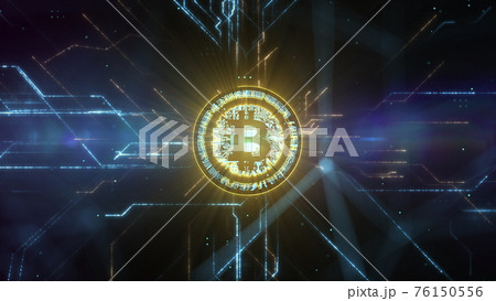 Abstract animation of bitcoin currency sign in digital cyberspace. 76150556