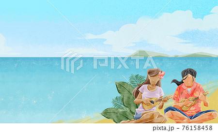 海辺でウクレレを弾く男女のイラスト 76158458