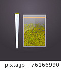cannabis joint and green dry crushed marijuana leaves in plastic bag drug consumption concept flat 76166990