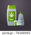 cannabis cosmetic with cbd oil medical marijuana organic hemp product label logo flat 76166993