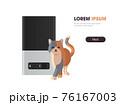 cat near automatic digital pet dry food storage meal feeder dispenser animal feed machine horizontal copy space 76167003