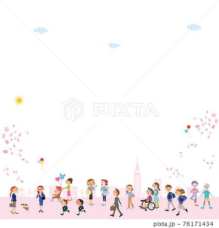 桜 街並み 新生活 春 コピースペース  76171434