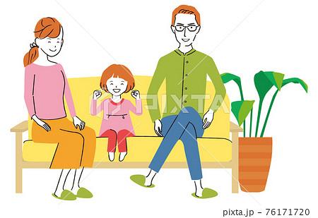 手書き線画カラーイラスト パパとママと子供 リビング  76171720