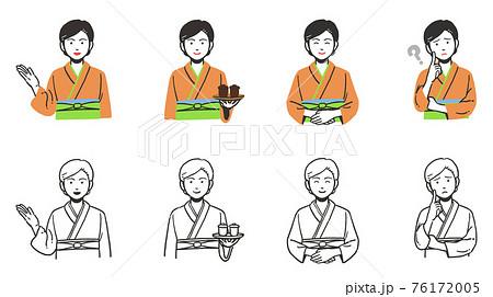 和食屋で働く和装女性のシンプルな上半身セット 76172005