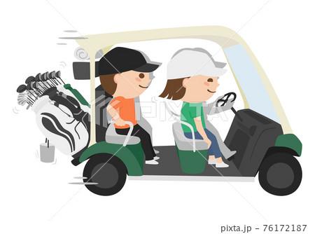 ゴルフコースを走るゴルフカートのイラスト。男性と女性が楽しそうに乗っている。 76172187