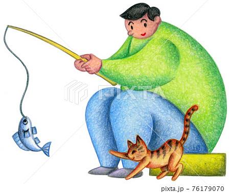 釣りをする人と野良猫 76179070