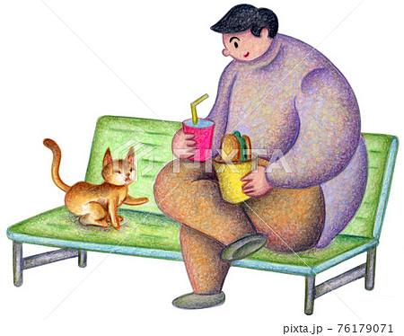 昼食をとる男性と野良猫 76179071