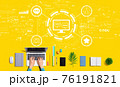 Social media theme with person using a laptop 76191821