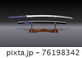 Katana sword with scabbard on stand. Vector 3D 76198342