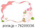 ピンクの花とリボンのフレーム 76209336