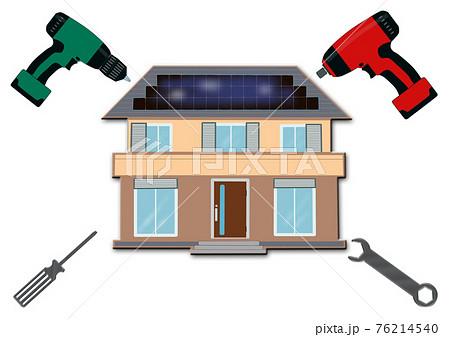 マイホームのメンテナンス 太陽光発電 ソーラーパネ 住宅の点検 修理 耐震補強 リフォーム 工事 76214540