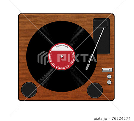 オーソドックスなレコードプレイヤーのイラスト 76224274