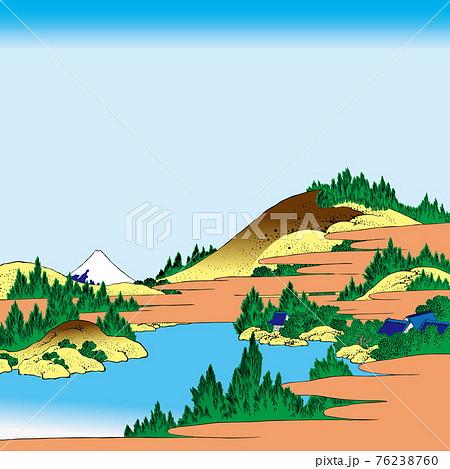 葛飾北斎イメージ相州箱根湖水明るいバージョン正方形 76238760