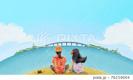 橋の掛かる島が見える砂浜の風景イラスト 76259004