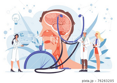 Flat cartoon doctor characters at work vector illustration concept 76263205