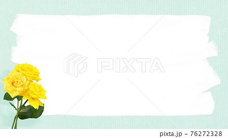 黄色いバラと手書き風のフレーム - 複数のバリエーションがあります 76272328