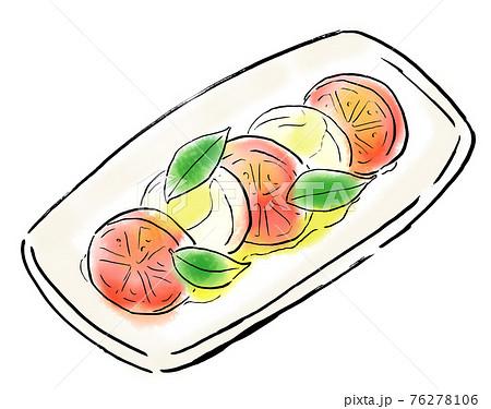 食べ物 手描きイラスト カプレーゼ 76278106