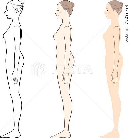 ヌード女性 美容 横向きの全身イラストセット 76283734