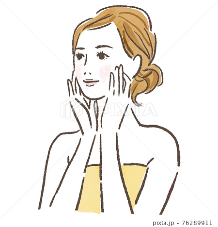 Illustration of a woman doing skin care 76289911