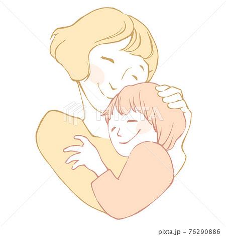 抱き合うしあわせそうな母子のイメージイラスト 76290886