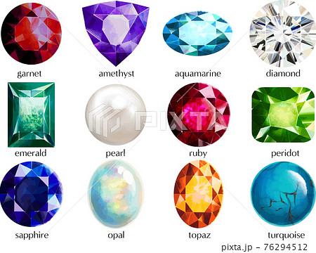 誕生月の宝石・誕生石のセット 宝石の名前入り ベクター素材 76294512
