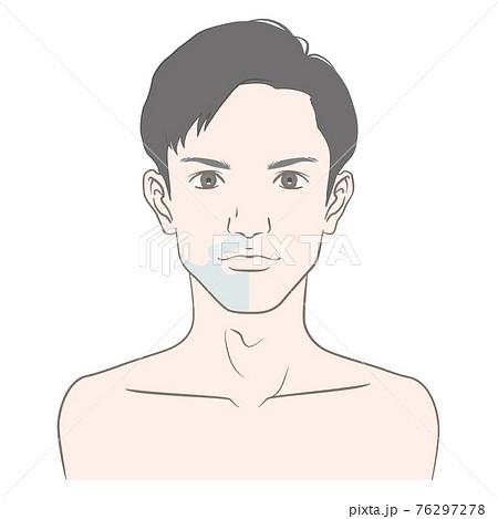 青髭の男性のビフォーアフター イメージイラスト (中心線・演出なし) 76297278