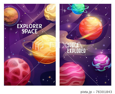 Space explorer banners, cartoon planets and stars 76301843