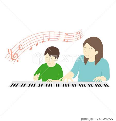 ピアノのレッスンを受けている子供のイラスト 76304755