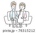 ベクターイラスト素材:ソファーに座る妊婦の妻と夫、夫婦 76315212