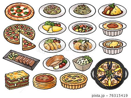 【手描きベクターイラスト素材】いろいろな食べ物のイラスト(洋食中心) 76315419