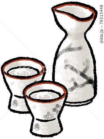 【手描きベクターイラスト素材】お猪口と徳利のイラスト 76315448