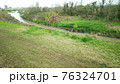 緑色のあまりきれいとは言えない春の川 76324701