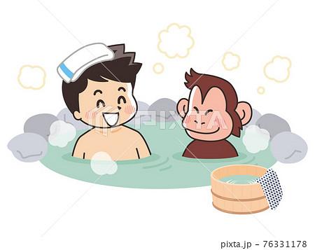 温泉に入る男性と猿 76331178