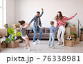 Parents dancing with children during relocation 76338981