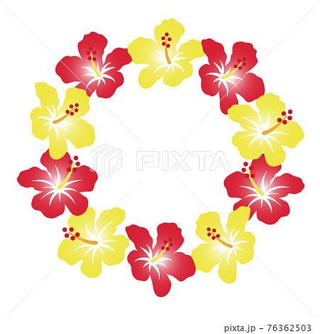 南国の花、ハイビスカスの花輪。背景装飾、丸型 76362503