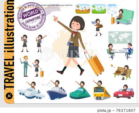 flat type school girl beige Blazer_travel 76371807