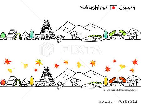秋の福島の街並みのシンプル線画セット 76393512