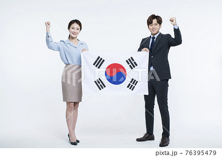 business, startup, people and teamwork concept with South Korea flag 76395479